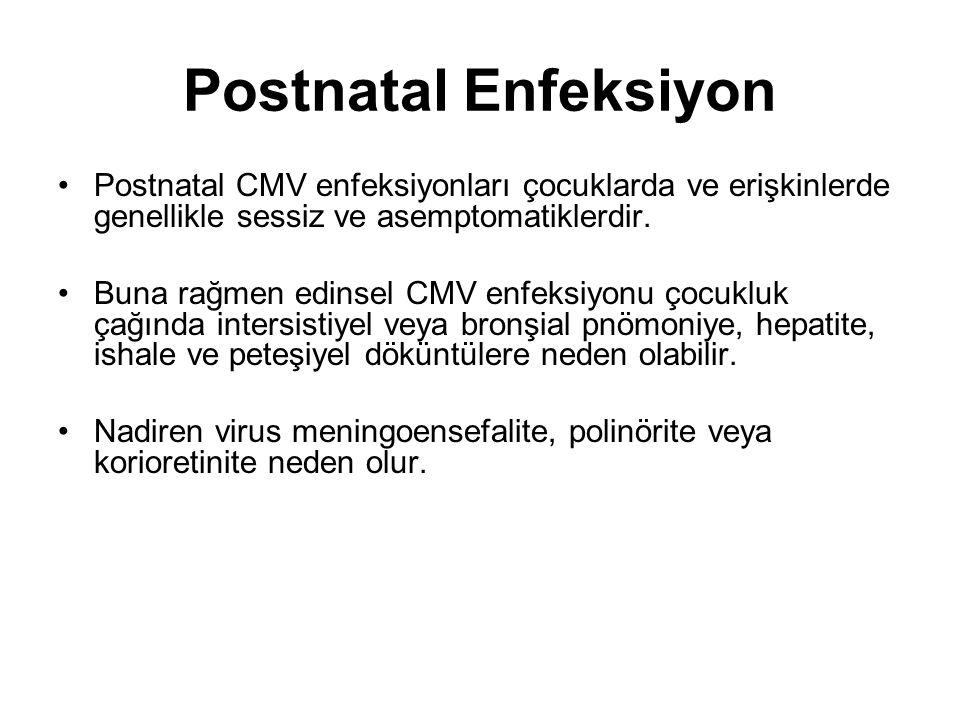Postnatal Enfeksiyon Postnatal CMV enfeksiyonları çocuklarda ve erişkinlerde genellikle sessiz ve asemptomatiklerdir.