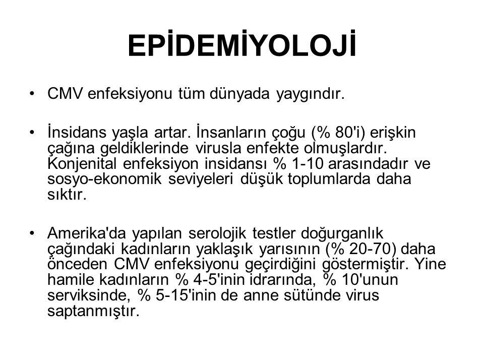 EPİDEMİYOLOJİ CMV enfeksiyonu tüm dünyada yaygındır.