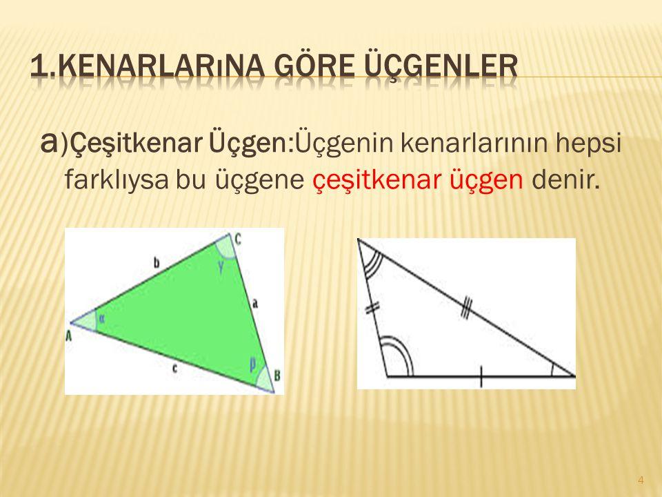 1.Kenarlarına göre üçgenler