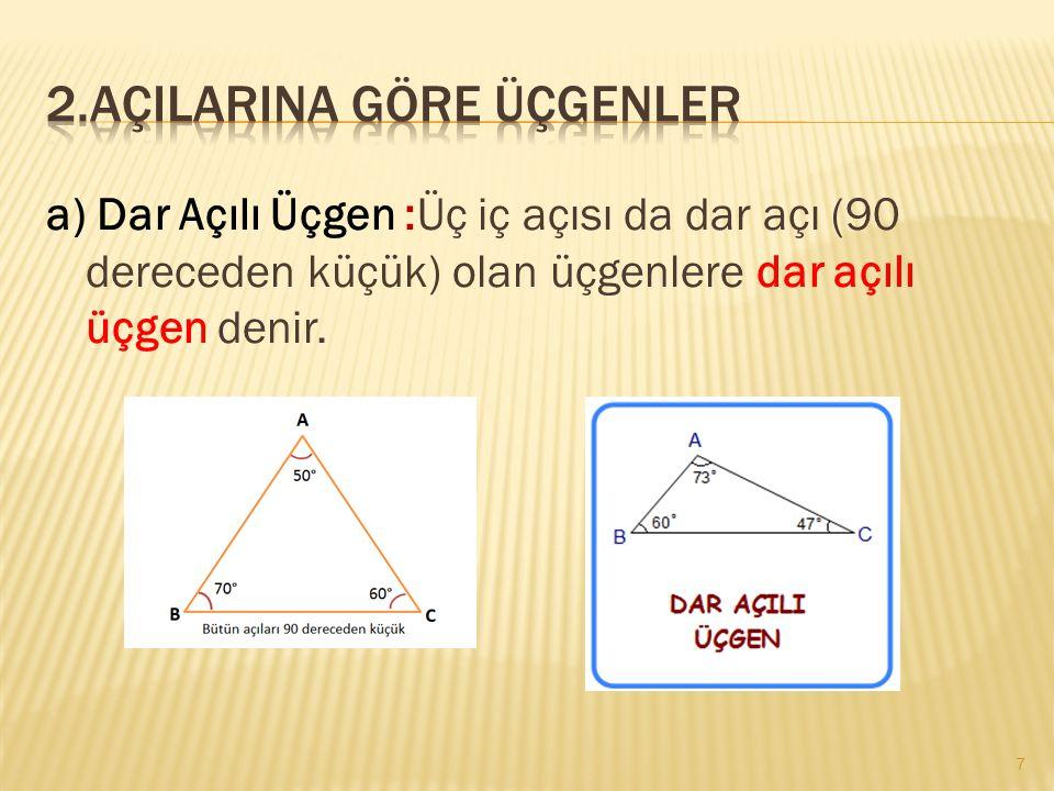 2.Açilarina göre üçgenler