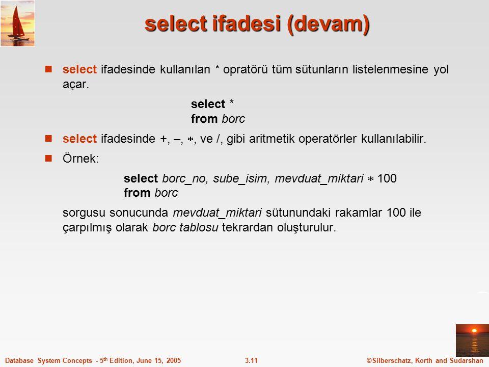 select ifadesi (devam)
