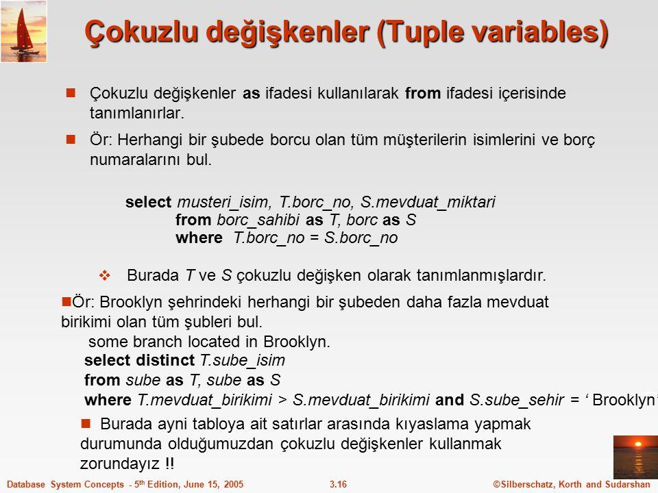 Çokuzlu değişkenler (Tuple variables)