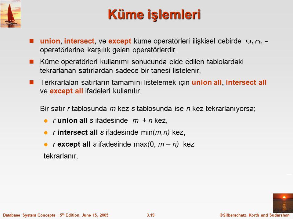 Küme işlemleri union, intersect, ve except küme operatörleri ilişkisel cebirde  operatörlerine karşılık gelen operatörlerdir.