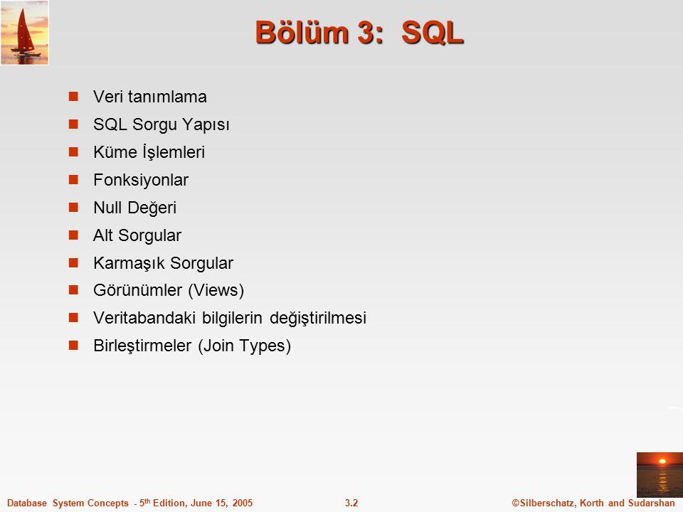 Bölüm 3: SQL Veri tanımlama SQL Sorgu Yapısı Küme İşlemleri