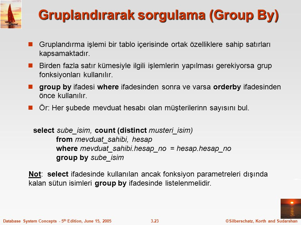Gruplandırarak sorgulama (Group By)