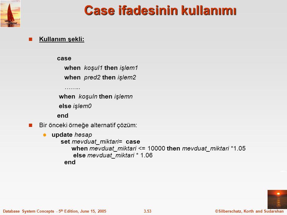 Case ifadesinin kullanımı