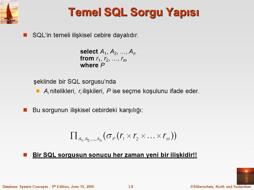 Temel SQL Sorgu Yapısı SQL'in temeli ilişkisel cebire dayalıdır.