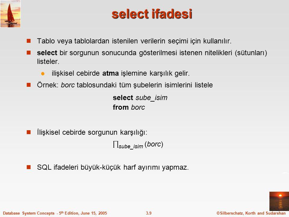select ifadesi Tablo veya tablolardan istenilen verilerin seçimi için kullanılır.