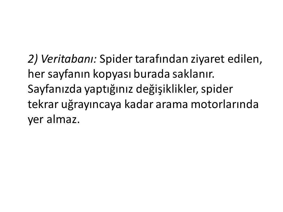 2) Veritabanı: Spider tarafından ziyaret edilen, her sayfanın kopyası burada saklanır.