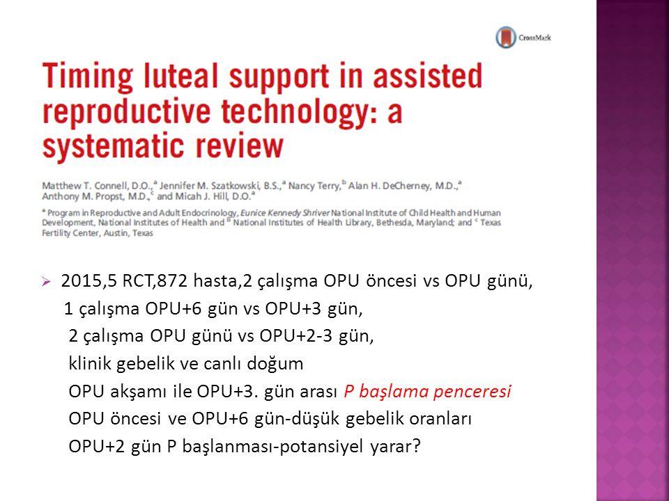 2015,5 RCT,872 hasta,2 çalışma OPU öncesi vs OPU günü,