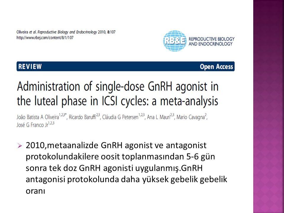 2010,metaanalizde GnRH agonist ve antagonist protokolundakilere oosit toplanmasından 5-6 gün sonra tek doz GnRH agonisti uygulanmış.GnRH antagonisi protokolunda daha yüksek gebelik gebelik oranı