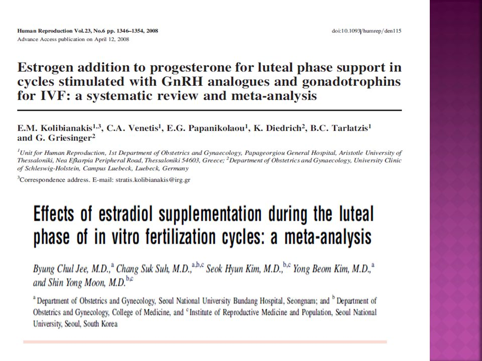 Kolibianakis ve Jee'nin metaanalizlerinde luteal faz desteğine östrojen eklenmesinin gebelik oranlarını artırmadığı sonucuna varılmıştır.