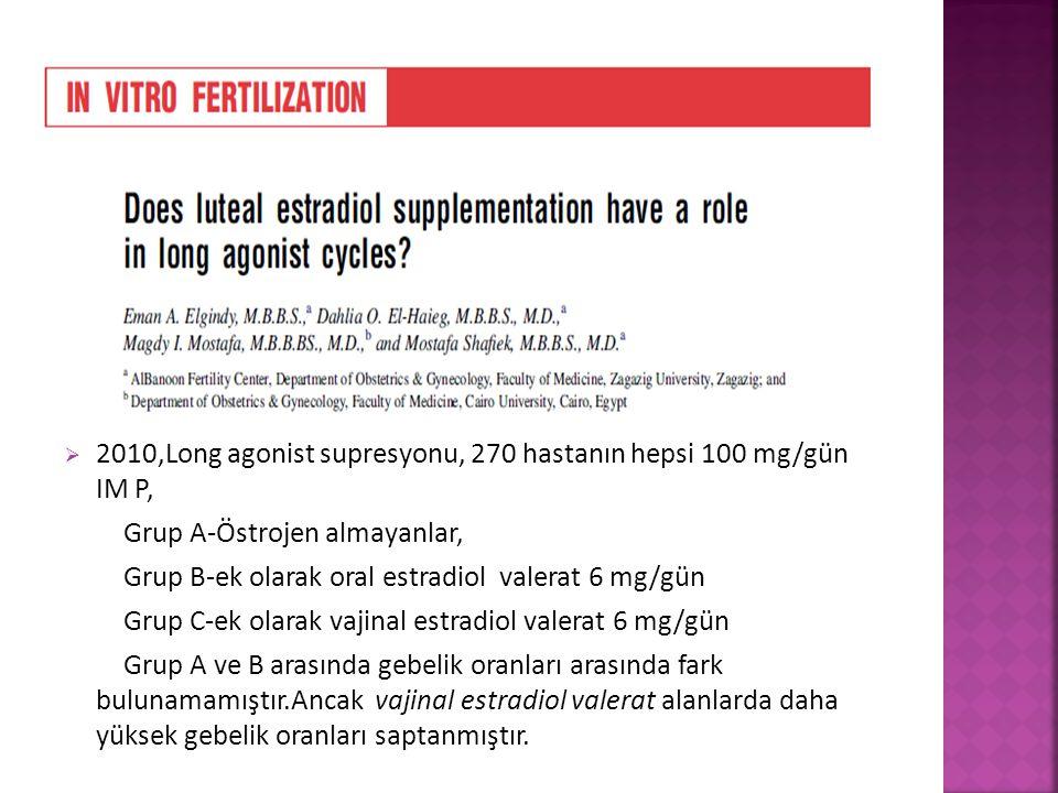 2010,Long agonist supresyonu, 270 hastanın hepsi 100 mg/gün IM P,