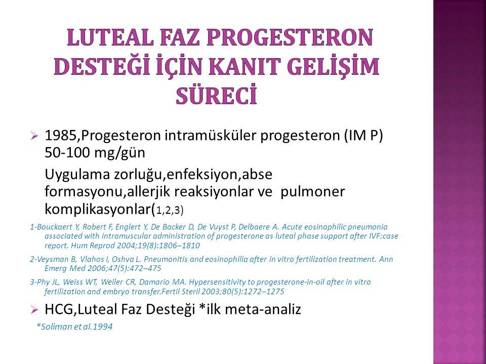 Luteal Faz Progesteron Desteğİ İçİn kanIt gelİşİm sürecİ