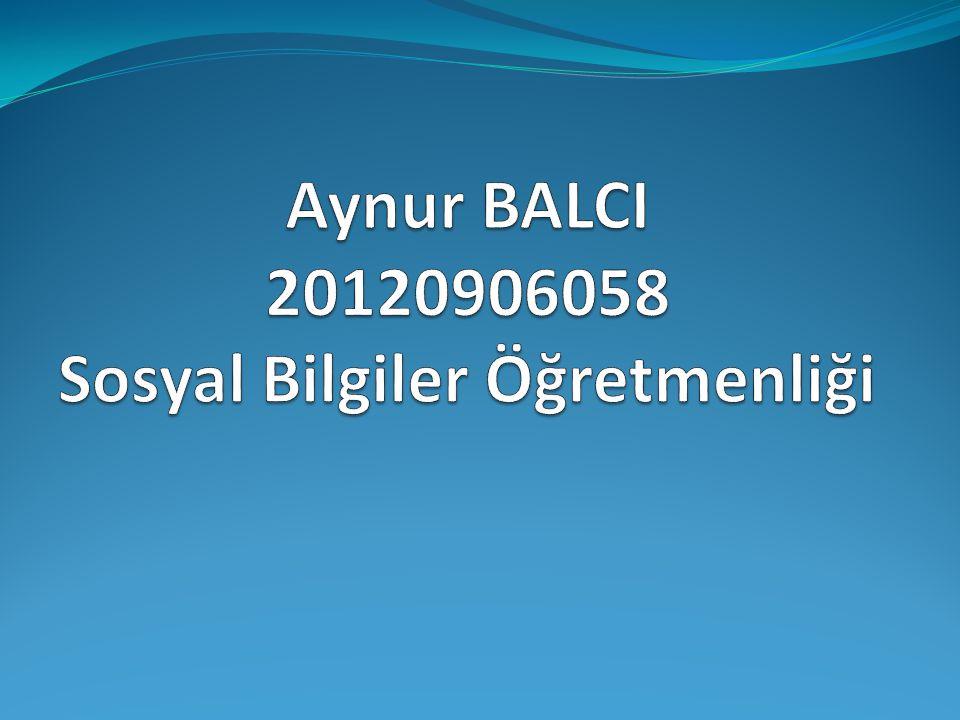 Aynur BALCI 20120906058 Sosyal Bilgiler Öğretmenliği