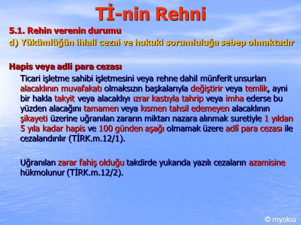 Tİ-nin Rehni 5.1. Rehin verenin durumu