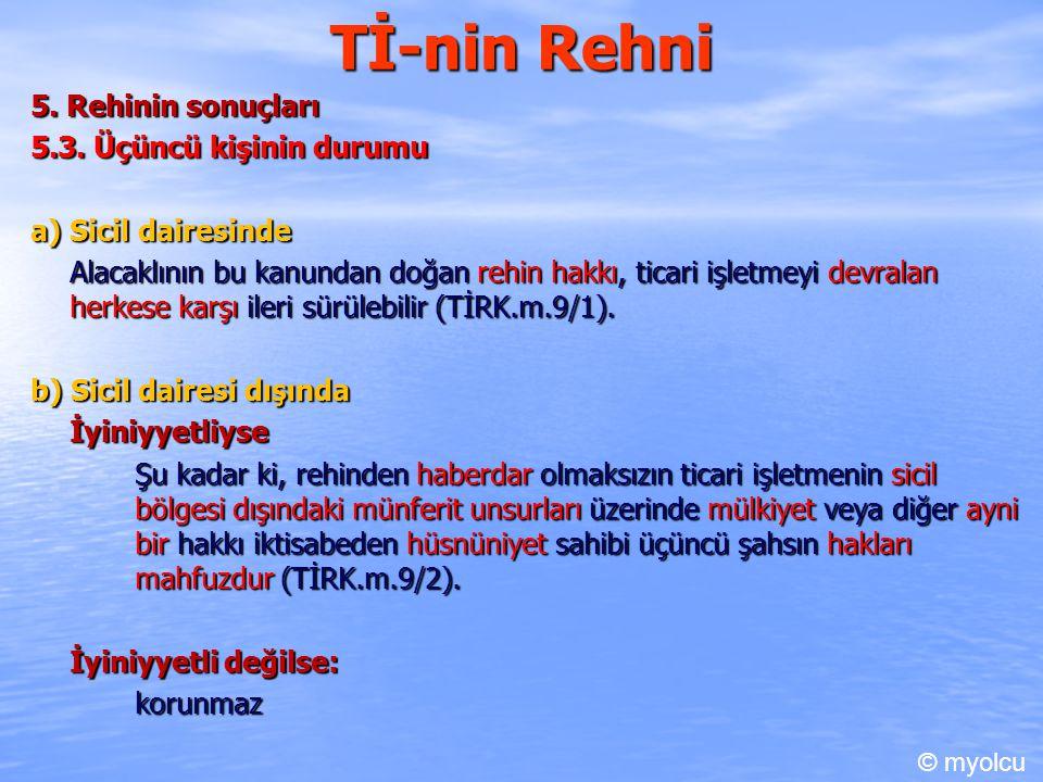 Tİ-nin Rehni 5. Rehinin sonuçları 5.3. Üçüncü kişinin durumu