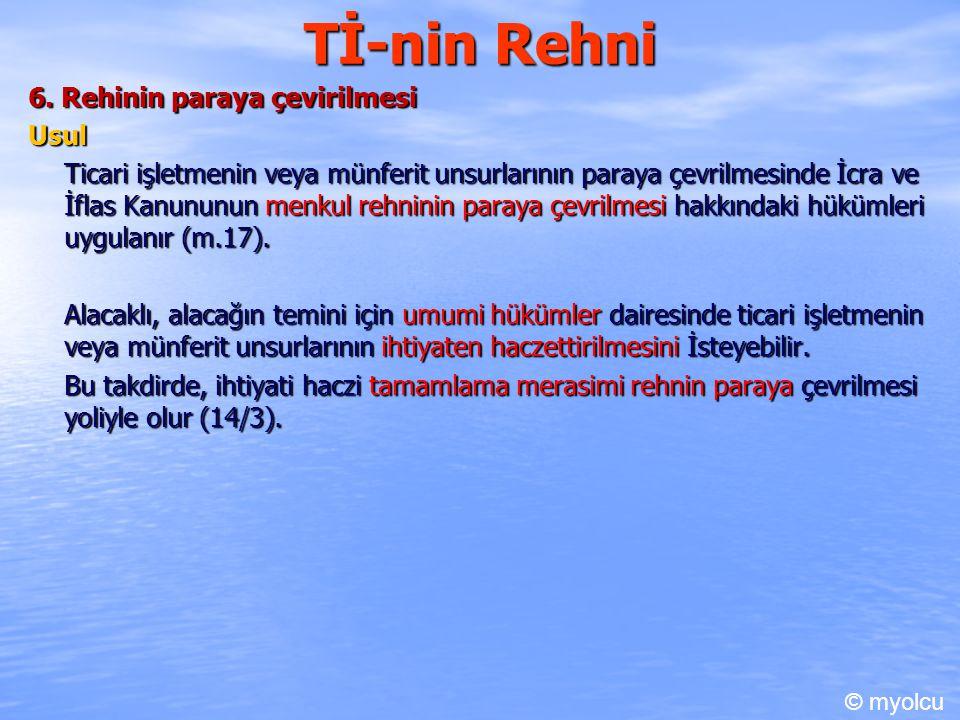 Tİ-nin Rehni 6. Rehinin paraya çevirilmesi Usul