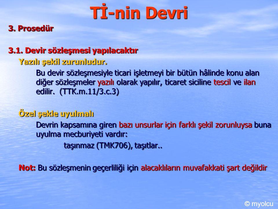 Tİ-nin Devri 3. Prosedür 3.1. Devir sözleşmesi yapılacaktır
