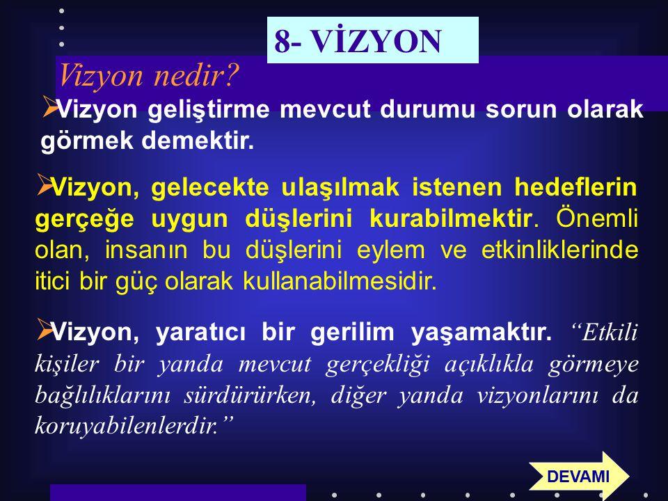 8- VİZYON Vizyon nedir Vizyon geliştirme mevcut durumu sorun olarak görmek demektir.