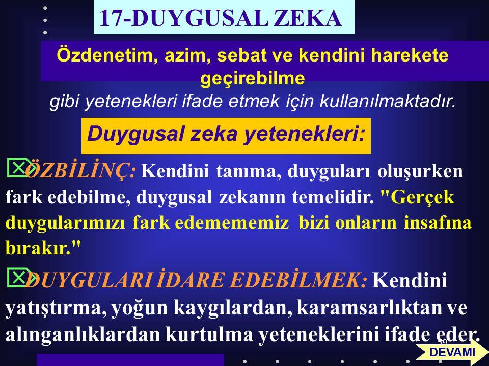 17-DUYGUSAL ZEKA Duygusal zeka yetenekleri: