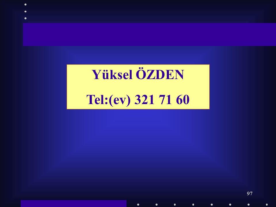 Yüksel ÖZDEN Tel:(ev) 321 71 60