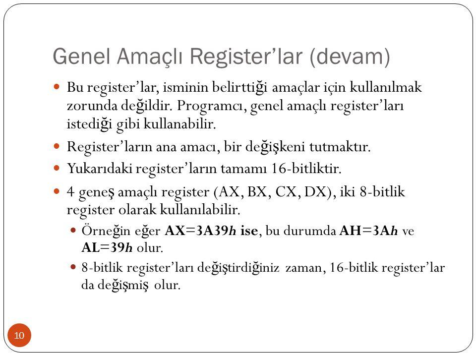 Genel Amaçlı Register'lar (devam)