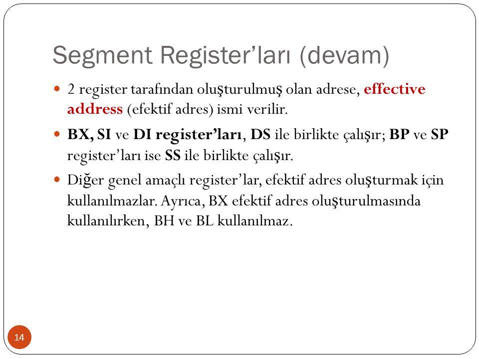 Segment Register'ları (devam)