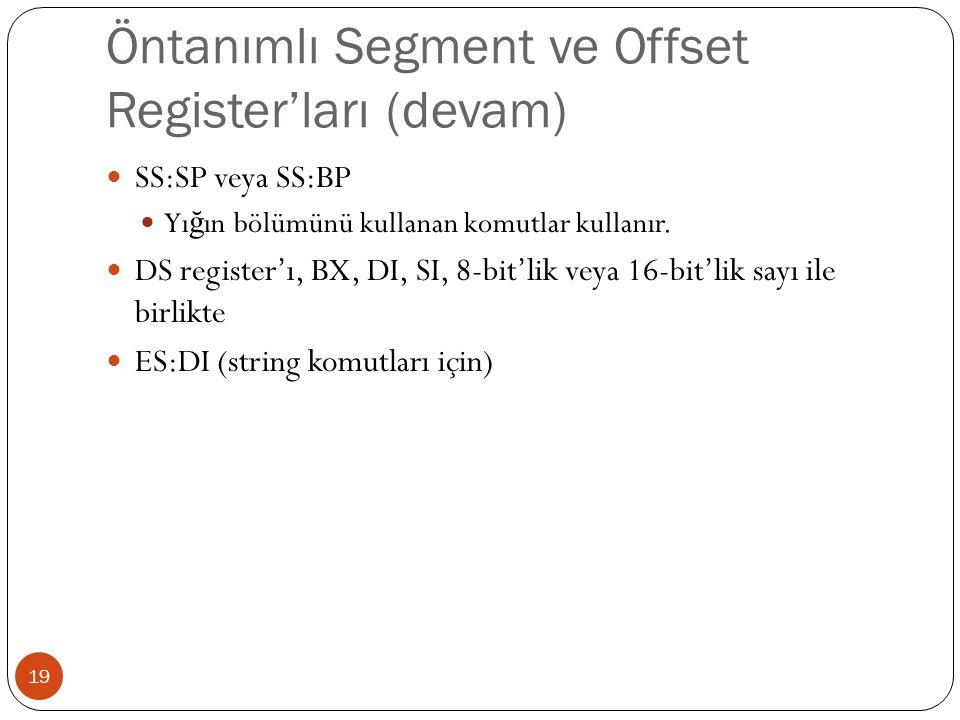 Öntanımlı Segment ve Offset Register'ları (devam)