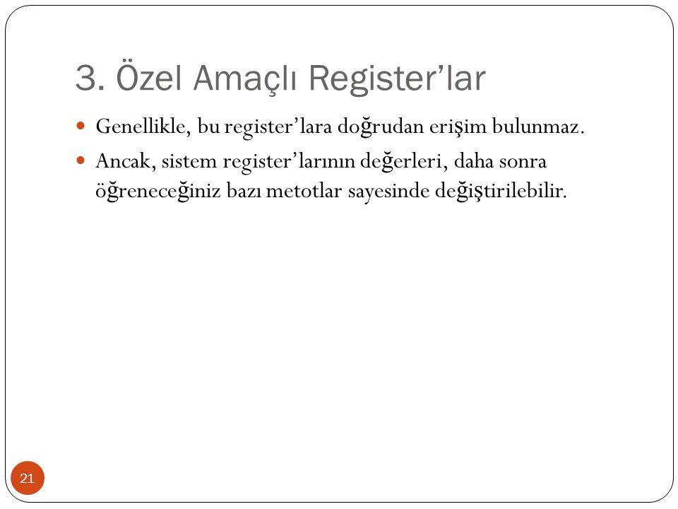 3. Özel Amaçlı Register'lar
