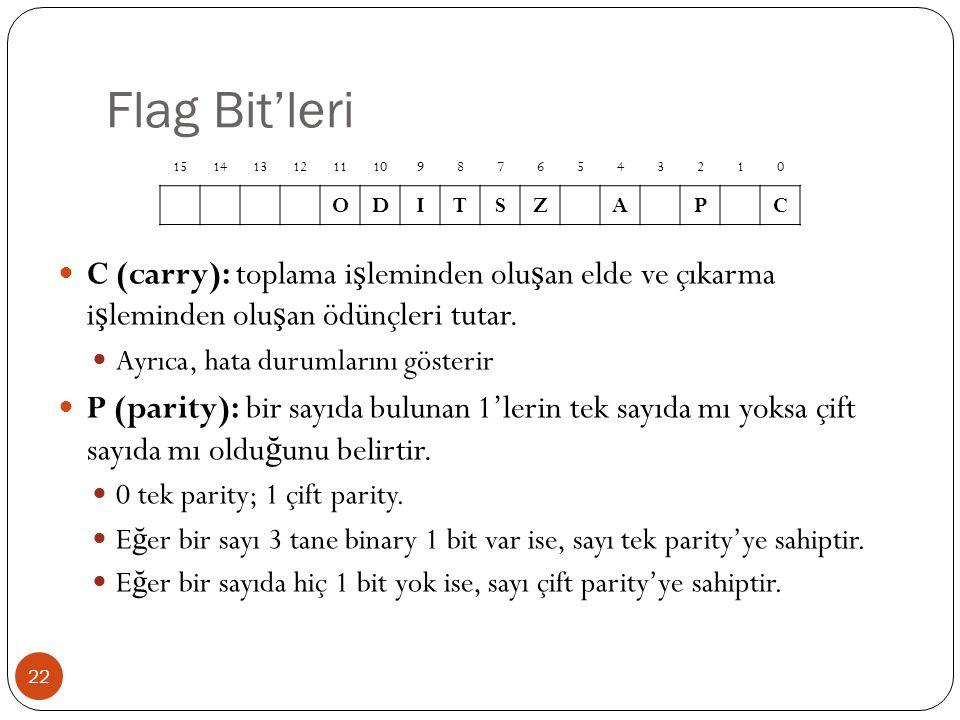 Flag Bit'leri 15. 14. 13. 12. 11. 10. 9. 8. 7. 6. 5. 4. 3. 2. 1. O. D. I. T. S. Z.