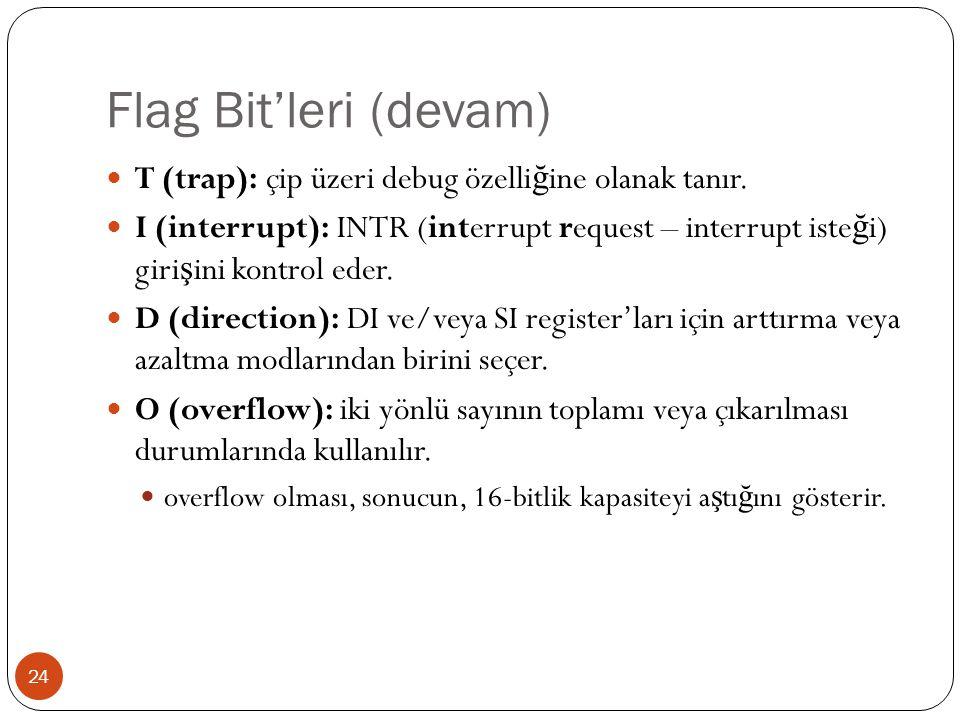 Flag Bit'leri (devam) T (trap): çip üzeri debug özelliğine olanak tanır.