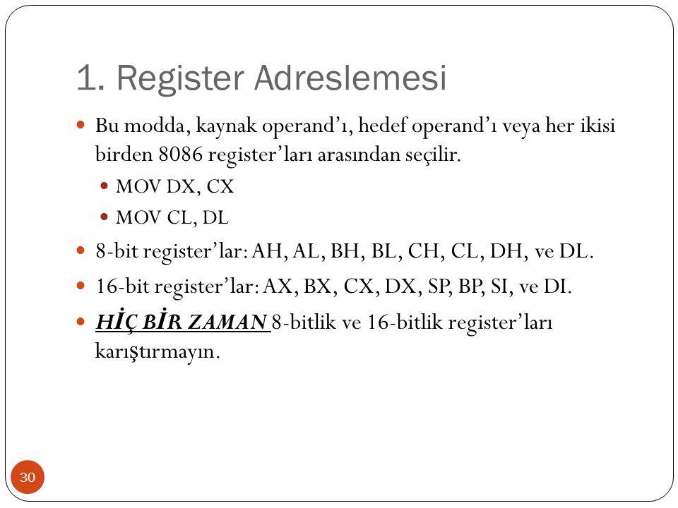 1. Register Adreslemesi Bu modda, kaynak operand'ı, hedef operand'ı veya her ikisi birden 8086 register'ları arasından seçilir.