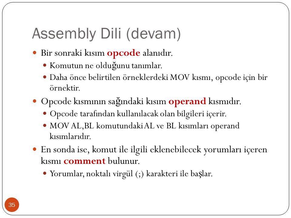 Assembly Dili (devam) Bir sonraki kısım opcode alanıdır.