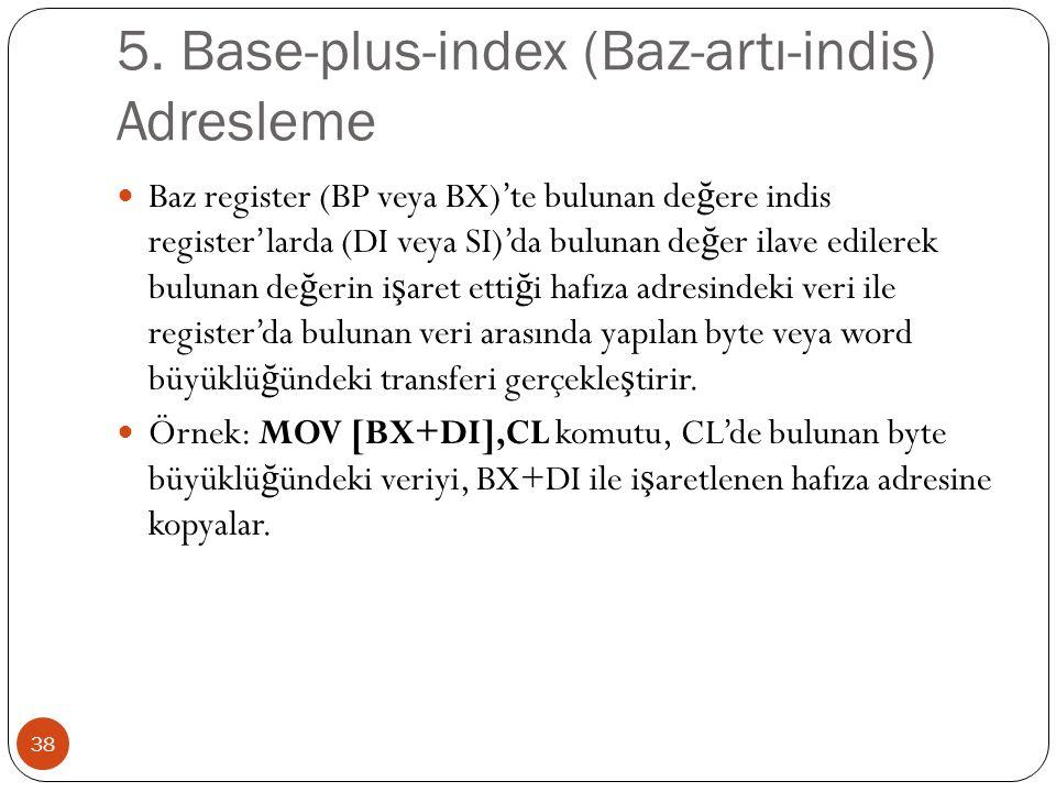 5. Base-plus-index (Baz-artı-indis) Adresleme