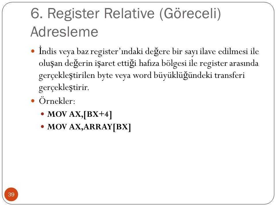 6. Register Relative (Göreceli) Adresleme