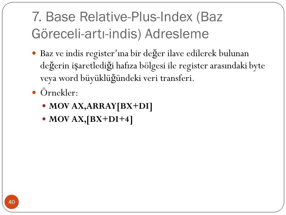 7. Base Relative-Plus-Index (Baz Göreceli-artı-indis) Adresleme