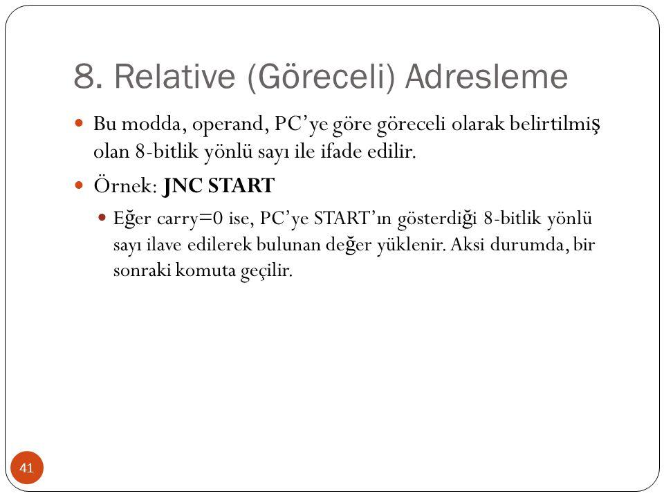 8. Relative (Göreceli) Adresleme