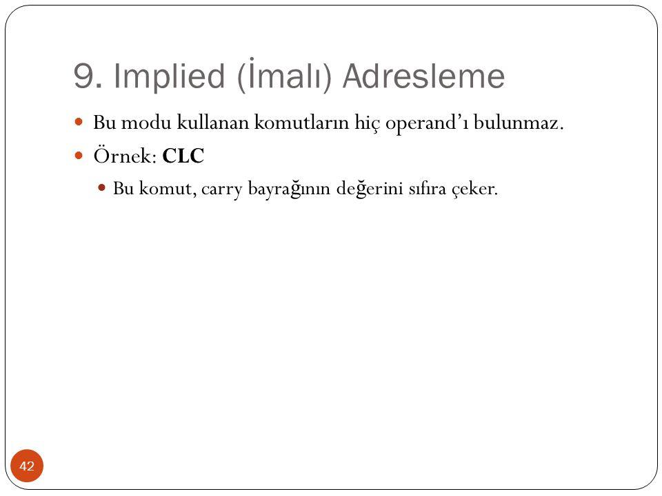 9. Implied (İmalı) Adresleme