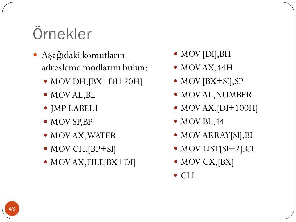 Örnekler Aşağıdaki komutların adresleme modlarını bulun:
