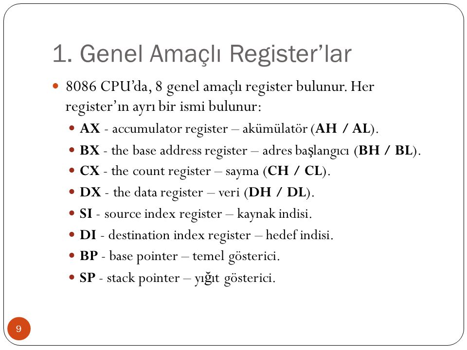 1. Genel Amaçlı Register'lar