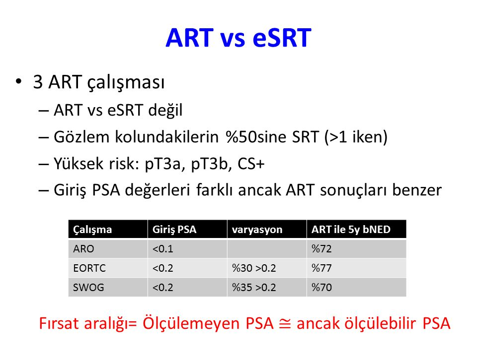 ART vs eSRT 3 ART çalışması ART vs eSRT değil