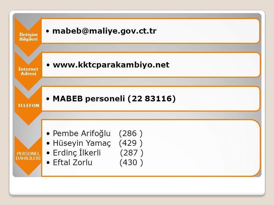 İletişim Bilgileri mabeb@maliye.gov.ct.tr. İnternet Adresi. www.kktcparakambiyo.net. TELEFON. MABEB personeli (22 83116)