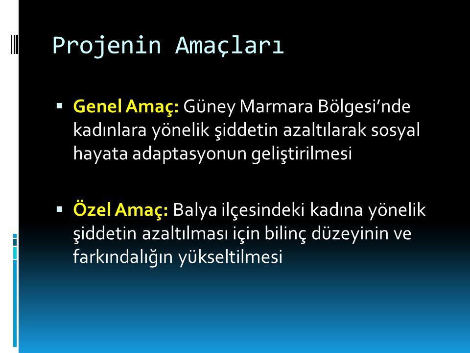 Projenin Amaçları Genel Amaç: Güney Marmara Bölgesi'nde kadınlara yönelik şiddetin azaltılarak sosyal hayata adaptasyonun geliştirilmesi.