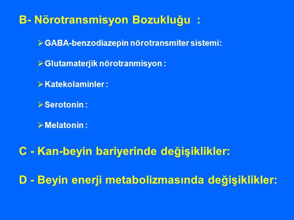 B- Nörotransmisyon Bozukluğu :