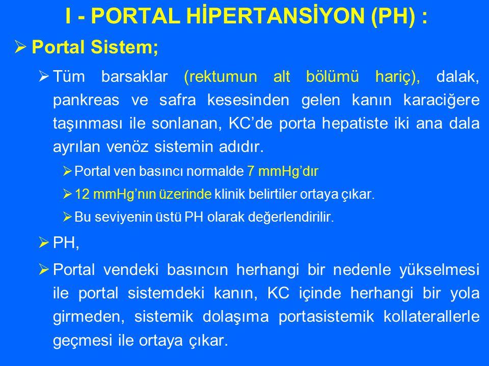 I - PORTAL HİPERTANSİYON (PH) :