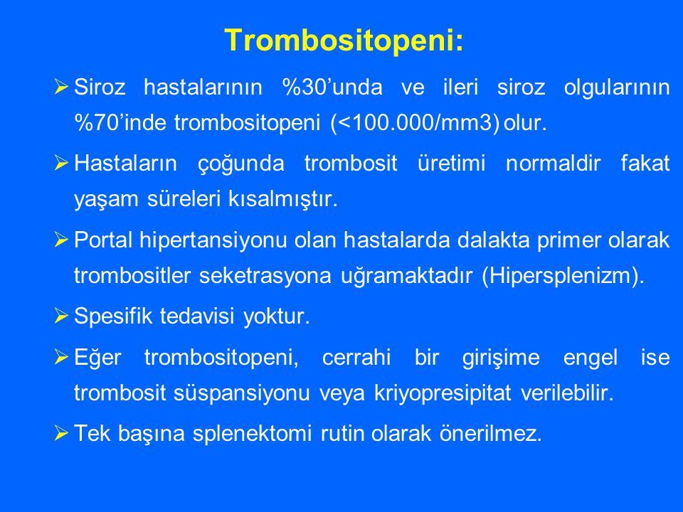 Trombositopeni: Siroz hastalarının %30'unda ve ileri siroz olgularının %70'inde trombositopeni (<100.000/mm3) olur.