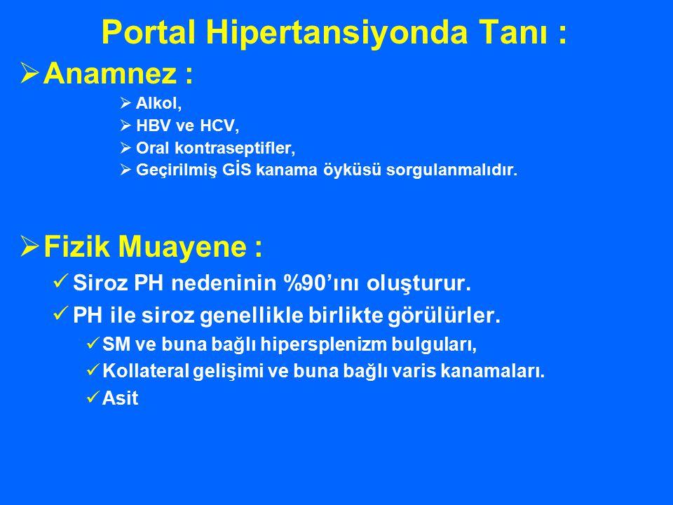 Portal Hipertansiyonda Tanı :
