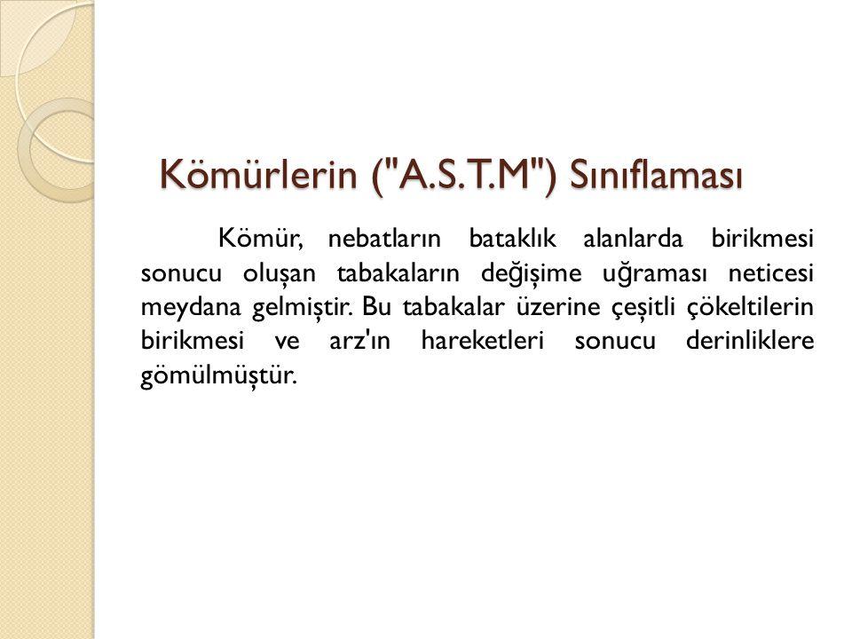 Kömürlerin ( A.S.T.M ) Sınıflaması