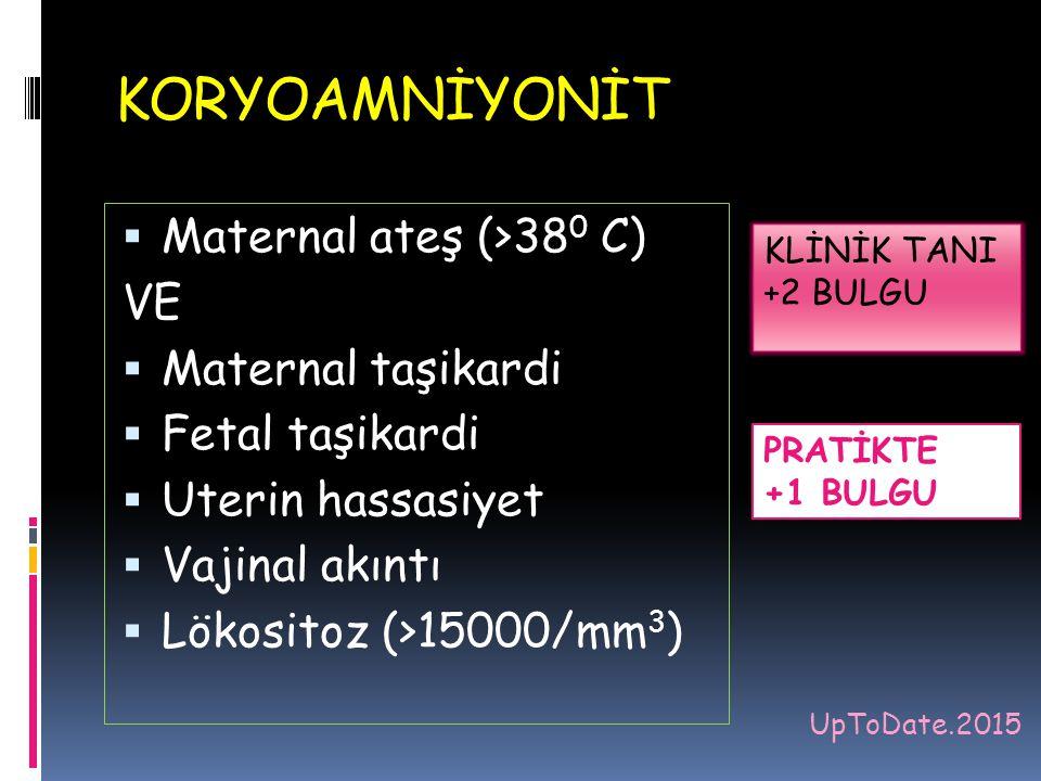 KORYOAMNİYONİT Maternal ateş (>380 C) VE Maternal taşikardi